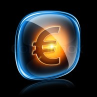 euro icon neon, isolated on black background.