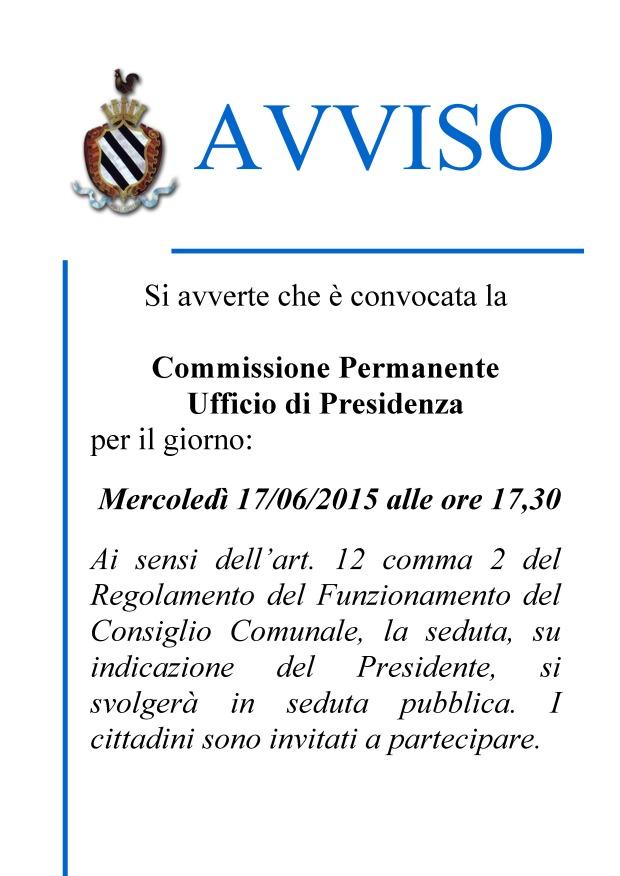 avviso - CONV.COMM.UFFICIO DI PRESIDENZA.17.6.15