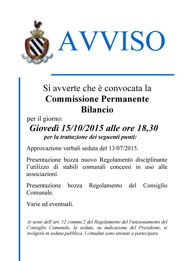 avviso - CONV.COMM.BILANCIO.15.10.15